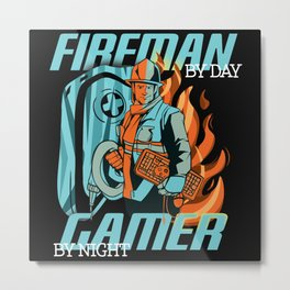 Half Gamer, Half Firefighter Metal Print
