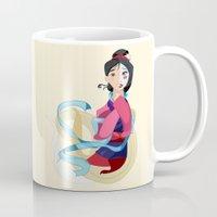 mulan Mugs featuring Mulan: Reflection by Minette Wasserman