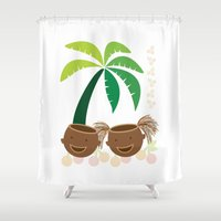 coconut wishes Shower Curtains featuring Coconut Twins by HK Chik