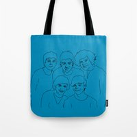 1d Tote Bags featuring 1D by Rebecca Bear