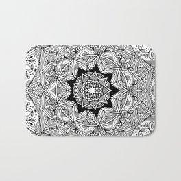 paisley black and white hippie boho mandala Bath Mat