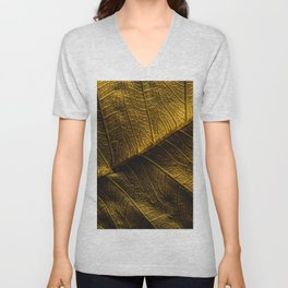 Close-up view on golden leaf from Bodhi tree. Concept of luxury to decorate. Gold-plated leaves deluxe natural illustration design. Unisex V-Neck