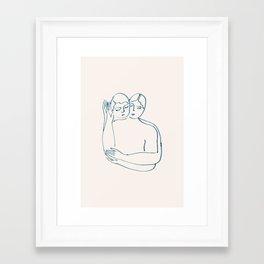 Glued by the cheeks Framed Art Print