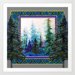 PINE TREES BLUE FOREST  LANDSCAPE TEAL PATTERN Art Print