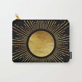 Golden Sunburst Starburst Noir Carry-All Pouch