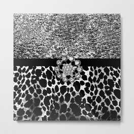 Animal Print Leopard Glam Silver and Black Diamond Metal Print