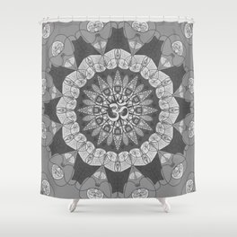 Mandala pattern gray yoga namaste floral om boho Shower Curtain