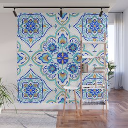 Hand Painted Moroccan Tiles - Aqua and Gold Wall Mural