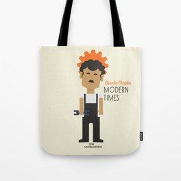 "Charlie Chaplin ""Modern Times"" movie poster, fine Art print, classic film with Paulette Goddard Tote Bag"