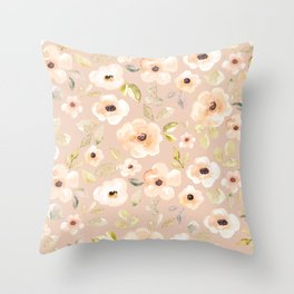 Watercolor Blush Floral, Muted Pink Flower Print, Nursery Floral Print, Soft Pink, Feminine Floral Throw Pillow