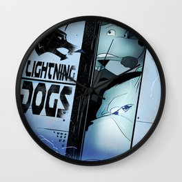Lightning Dogs :: Beware the Glampire! by Tony Baldini Wall Clock