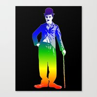 chaplin Canvas Prints featuring Chaplin by PsychoBudgie