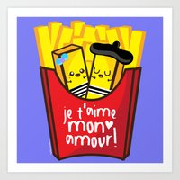 french fries Art Prints featuring French Fries by Kleviee