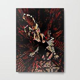 8647-KMA Feet First Abstract Nude Foot Toes Legs in Checks and Red Metal Print