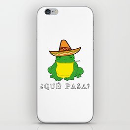 Qué Pasa? Funny Mexican Toad With Sombrero Cigarette Frogs & Amphibians Design iPhone Skin