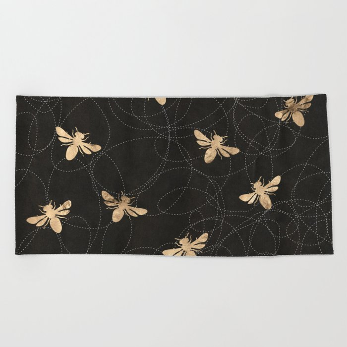 Busy Bees (Black) Beach Towel