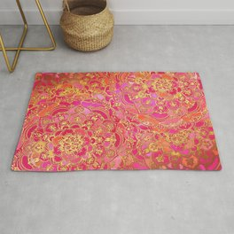 Hot Pink and Gold Baroque Floral Pattern Rug