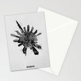 Dubai, United Arab Emirates Black and White Skyround / Skyline Watercolor Painting Stationery Cards