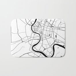 Bangkok Thailand Minimal Street Map - Black and White Bath Mat