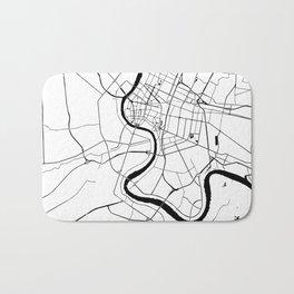Bangkok Thailand Minimal Street Map - Black and White Bath Mat