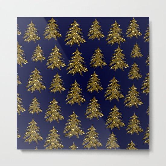 Sparkly gold Christmas tree on dark blue Metal Print