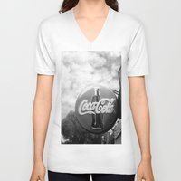 coca cola V-neck T-shirts featuring Coca Cola  by Chris' Landscape Images & Designs