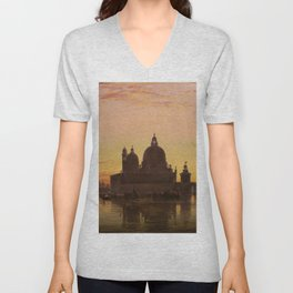 Venice Sunset at Santa Maria della Salute by Edwin William Cooke Unisex V-Neck