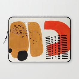 Mid Century Modern Abstract Minimalist Retro Vintage Style Fun Playful Ochre Yellow Ochre Orange Sha Laptop Sleeve