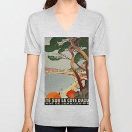 Vintage poster - Cote D'Azur, France Unisex V-Neck