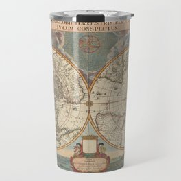 1672 World Polar Projection Map  Travel Mug