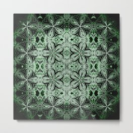 Green & Black Etched Delicate Flowers Metal Print