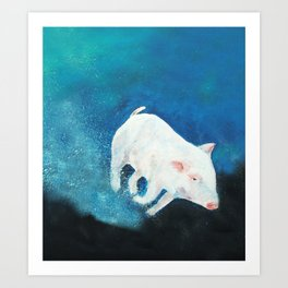 Swimming Piggy Art Print