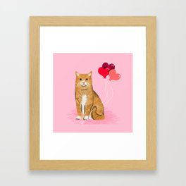 Orange Tabby ginger cats valentines day balloons hearts cat breeds must have gifts valentine's day Framed Art Print