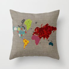 Simi's Map of the World Throw Pillow