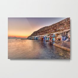 "Sunset at the fishermen houses with the impressive boat shelters, also known as ""syrmata"" in Klima of Milos, Greece Metal Print"