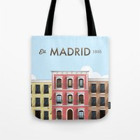 madrid Tote Bags featuring Madrid by Sara Enriquez