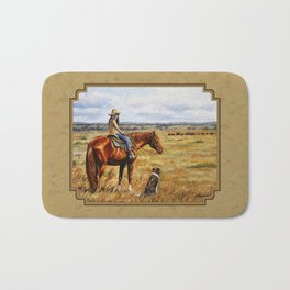 Young Cowgirl on Cattle Horse Bath Mat
