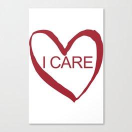 I CARE (WHT TEXT) Canvas Print