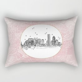Boston, Massachusetts City Skyline Illustration Drawing Rectangular Pillow