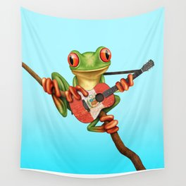 Tree Frog Playing Acoustic Guitar with Flag of Peru Wall Tapestry