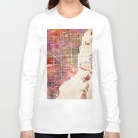 miami Long Sleeve T-shirts featuring Miami by MapMapMaps.Watercolors