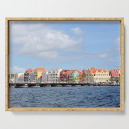 Colorful Houses of Willemstad, Curacao Serving Tray