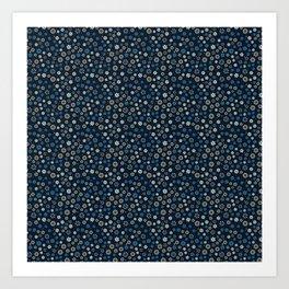 Festive Blue Snowflake Pattern Art Print
