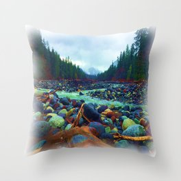 Colored Rock Flow Throw Pillow