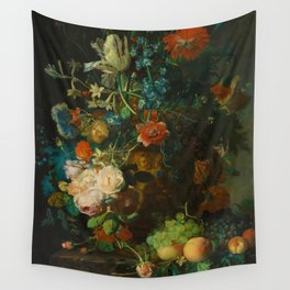Still Life with Flowers and Fruit by Jan van Huysum (1749) Wall Tapestry