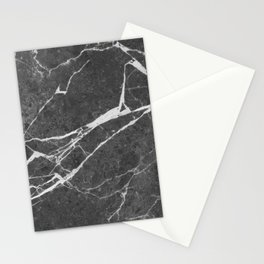 Matte Black Marble Stationery Cards