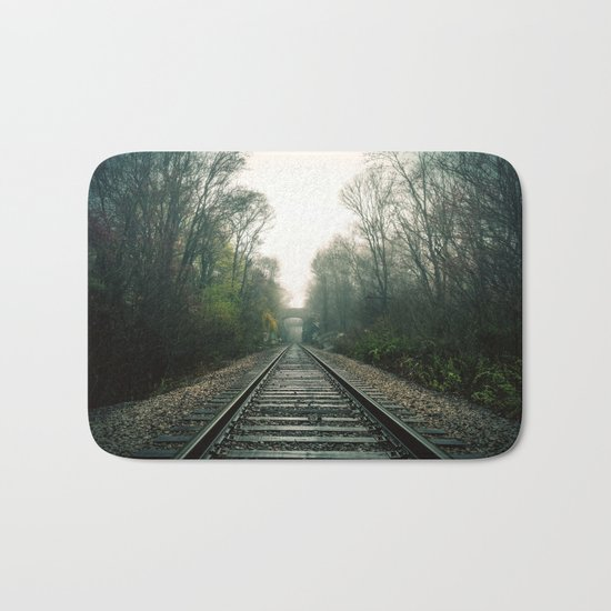 Creepy foggy railroad Bath Mat
