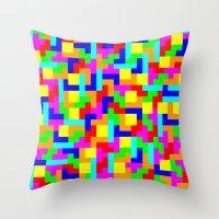 tetris Throw Pillows featuring Tetris by tonilara