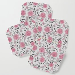 Soft and Sketchy Peonies Coaster