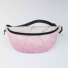 Pink Gold Glitter and Grey Marble Fanny Pack